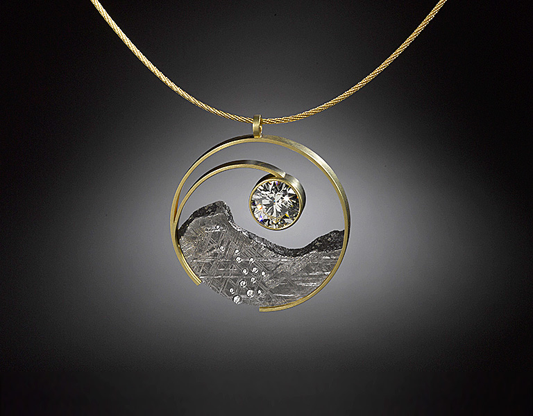 Jacob albee collection diamond yin yang pendant in 18k gold and gibeon meteorite with diamonds and a 704 ct rbc diamond 175 diameter sold please inquire aloadofball Image collections