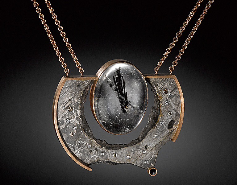 Jacob albee collection necklace with a tourmilated quartz cabochon 18k rose gold gibeon meteorite and white and champagne diamonds available aloadofball Images
